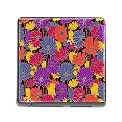 Colorful Floral Pattern Background Memory Card Reader (square) by Nexatart