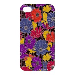 Colorful Floral Pattern Background Apple Iphone 4/4s Hardshell Case by Nexatart