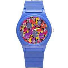 Colorful Floral Pattern Background Round Plastic Sport Watch (s) by Nexatart