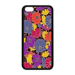 Colorful Floral Pattern Background Apple Iphone 5c Seamless Case (black) by Nexatart