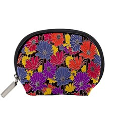 Colorful Floral Pattern Background Accessory Pouches (small)  by Nexatart