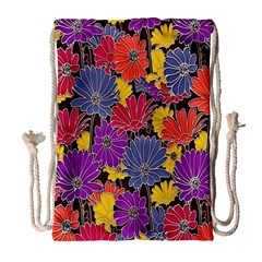 Colorful Floral Pattern Background Drawstring Bag (large) by Nexatart