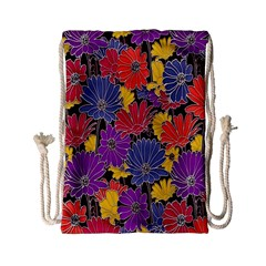 Colorful Floral Pattern Background Drawstring Bag (small) by Nexatart