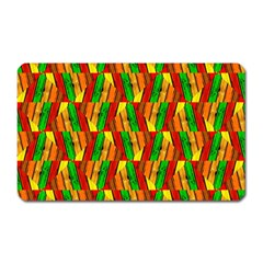 Colorful Wooden Background Pattern Magnet (rectangular) by Nexatart