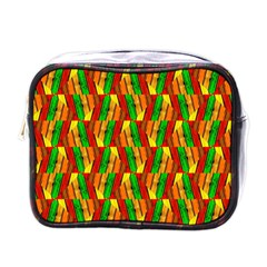 Colorful Wooden Background Pattern Mini Toiletries Bags by Nexatart