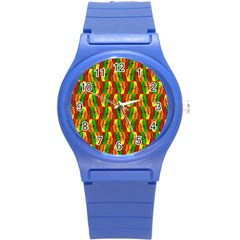 Colorful Wooden Background Pattern Round Plastic Sport Watch (s) by Nexatart
