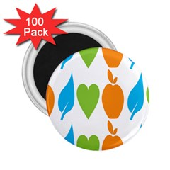 Fruit Apple Orange Green Blue 2 25  Magnets (100 Pack)  by Mariart