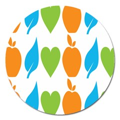 Fruit Apple Orange Green Blue Magnet 5  (round) by Mariart