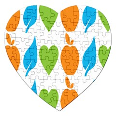 Fruit Apple Orange Green Blue Jigsaw Puzzle (heart) by Mariart