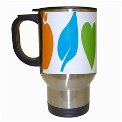Fruit Apple Orange Green Blue Travel Mugs (white) by Mariart