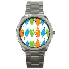 Fruit Apple Orange Green Blue Sport Metal Watch by Mariart