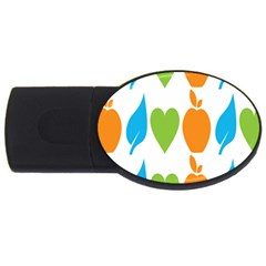 Fruit Apple Orange Green Blue Usb Flash Drive Oval (4 Gb) by Mariart