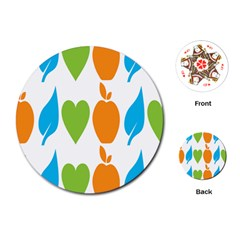 Fruit Apple Orange Green Blue Playing Cards (round)  by Mariart