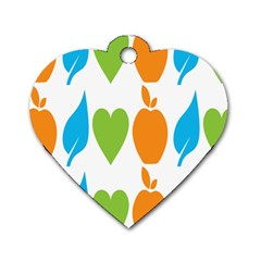Fruit Apple Orange Green Blue Dog Tag Heart (one Side) by Mariart