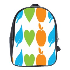 Fruit Apple Orange Green Blue School Bags(large)