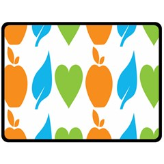 Fruit Apple Orange Green Blue Fleece Blanket (large)  by Mariart