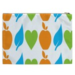 Fruit Apple Orange Green Blue Cosmetic Bag (XXL)  Back
