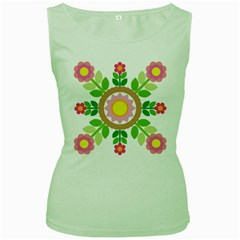 Flower Floral Sunflower Sakura Star Leaf Women s Green Tank Top