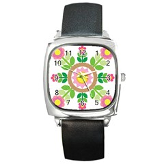 Flower Floral Sunflower Sakura Star Leaf Square Metal Watch by Mariart
