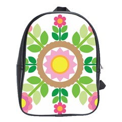 Flower Floral Sunflower Sakura Star Leaf School Bags(large)  by Mariart