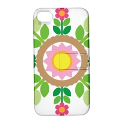 Flower Floral Sunflower Sakura Star Leaf Apple Iphone 4/4s Hardshell Case With Stand by Mariart