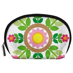 Flower Floral Sunflower Sakura Star Leaf Accessory Pouches (large)  by Mariart