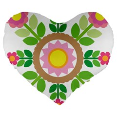 Flower Floral Sunflower Sakura Star Leaf Large 19  Premium Flano Heart Shape Cushions by Mariart