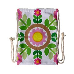 Flower Floral Sunflower Sakura Star Leaf Drawstring Bag (small)