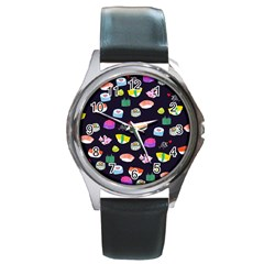 Japanese Food Sushi Fish Round Metal Watch by Mariart