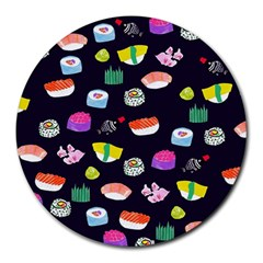Japanese Food Sushi Fish Round Mousepads by Mariart