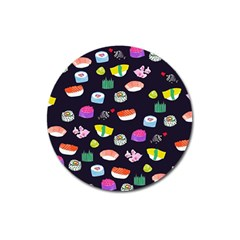 Japanese Food Sushi Fish Magnet 3  (round) by Mariart