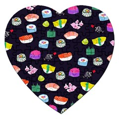 Japanese Food Sushi Fish Jigsaw Puzzle (heart) by Mariart