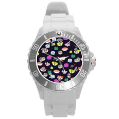 Japanese Food Sushi Fish Round Plastic Sport Watch (l) by Mariart
