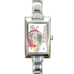 Colorful Fish Animals Rainbow Rectangle Italian Charm Watch by Mariart