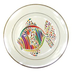 Colorful Fish Animals Rainbow Porcelain Plates by Mariart