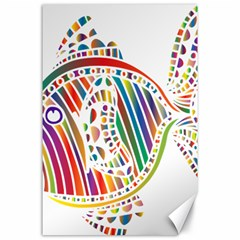 Colorful Fish Animals Rainbow Canvas 24  X 36