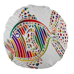 Colorful Fish Animals Rainbow Large 18  Premium Flano Round Cushions by Mariart