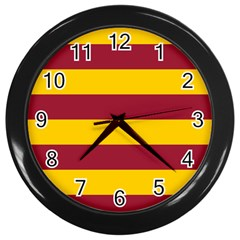 Oswald s Stripes Red Yellow Wall Clocks (black) by Mariart