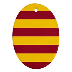 Oswald s Stripes Red Yellow Oval Ornament (two Sides) by Mariart