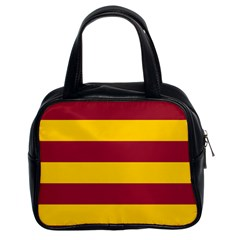 Oswald s Stripes Red Yellow Classic Handbags (2 Sides) by Mariart