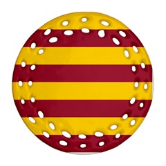 Oswald s Stripes Red Yellow Ornament (round Filigree)