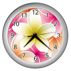 Frangipani Flower Floral White Pink Yellow Wall Clocks (silver)  by Mariart