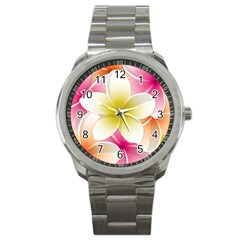 Frangipani Flower Floral White Pink Yellow Sport Metal Watch by Mariart