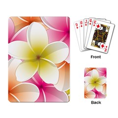 Frangipani Flower Floral White Pink Yellow Playing Card by Mariart