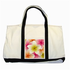 Frangipani Flower Floral White Pink Yellow Two Tone Tote Bag by Mariart