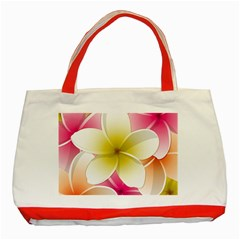 Frangipani Flower Floral White Pink Yellow Classic Tote Bag (red) by Mariart