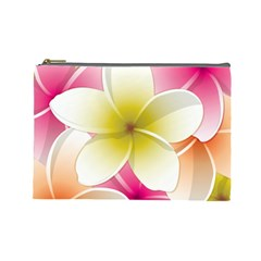 Frangipani Flower Floral White Pink Yellow Cosmetic Bag (large)  by Mariart
