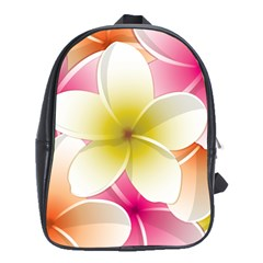 Frangipani Flower Floral White Pink Yellow School Bags(large)