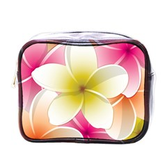 Frangipani Flower Floral White Pink Yellow Mini Toiletries Bags by Mariart