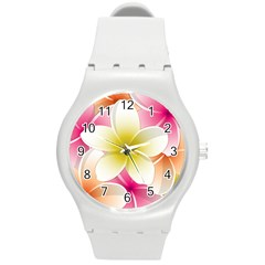 Frangipani Flower Floral White Pink Yellow Round Plastic Sport Watch (m) by Mariart